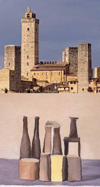 Morandi Still Life (1955) and Italian Medieval Town, San Gimignano