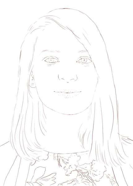 Line Drawing Portrait : Color pencil portraits the line drawing
