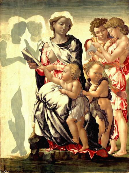 'The Madonna and Child with St. John and Angels', (1497) by Michelangelo Buonarroti.