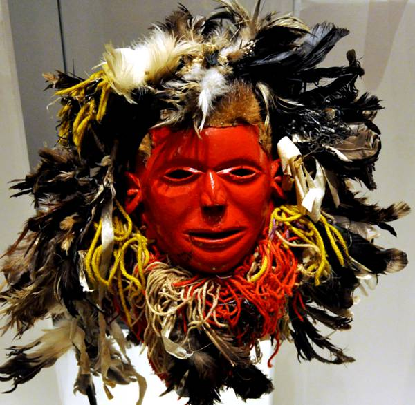 A human face mask for the Nyau masquerade from Malawi.