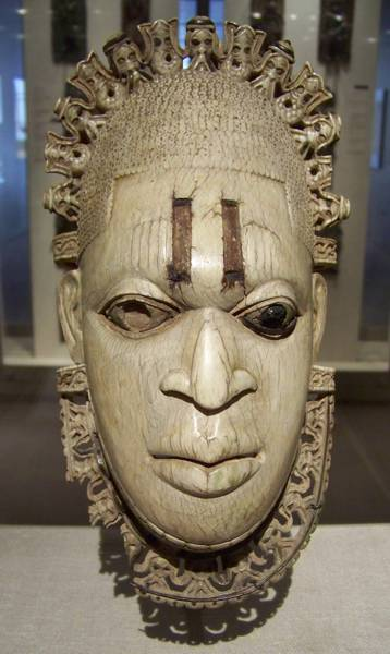 16th century Edo pendant mask, carved in ivory, from the Court of Benin, Nigeria.