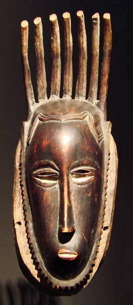 Mask with seven horns from a workshop in the Guro area of the Ivory Coast.