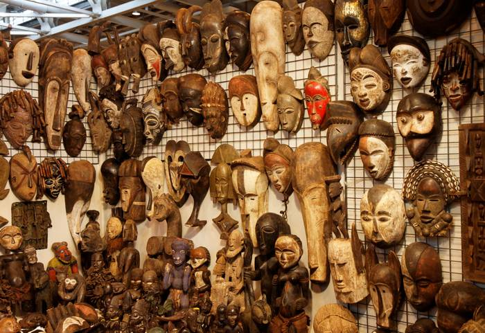 A detail from a display of African masks at the 2011 Foire de Paris.