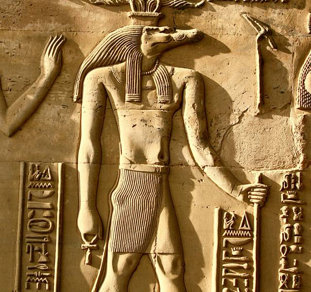 Relief carving of Sobek from the Kom Ombo temple.
