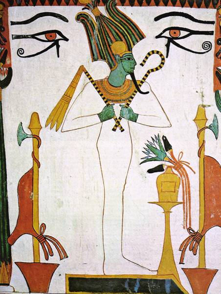 Painting of Osiris from the tomb of Sennedjem.