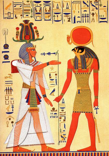 Horus with a pharaoh wearing Hemhem crown.