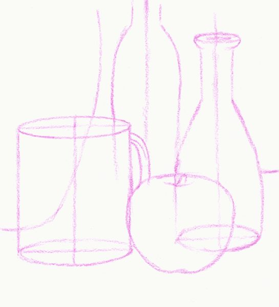 Line Drawing Still Life : Still life techniques oil pastels